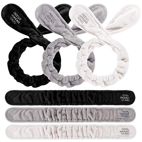 Whaline 3er-Pack Samt-Draht-Stirnband verstellbar Make-up Wrap Kopf Twist Haarband Bunny Hasenohren schöne Haar-Accessoires für Make-up, Spa, Dusche, Gesichtsreinigung und Yoga (schwarz, weiß, grau)