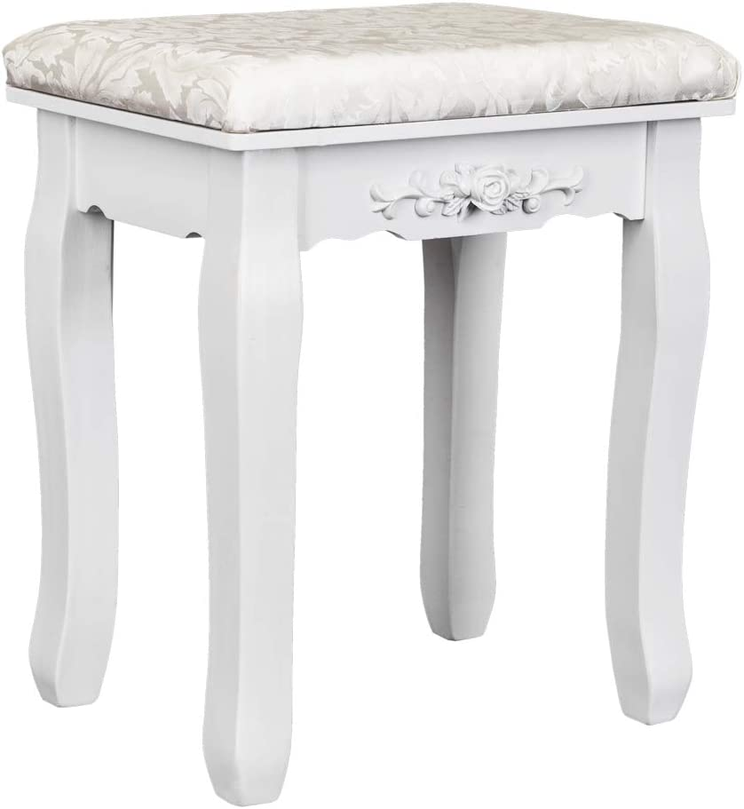 Takefuns Solid Wood Bent Foot Online limited product Dressing Dining White Stool Special Campaign