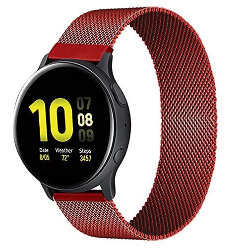 Correa Magnética De 20 Mm 22 Mm Para Samsung Active 2 Gear S3 Pulsera Huaw GT / GT2 / 2e Galaxy Watch 3/4 1033 (Band Color : Red, Band Width : 20mm watchbands)