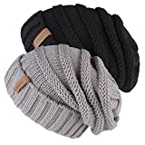 FURTALK Knitted Winter Slouchy Beanie Hat Oversized Unisex Crochet Cable Ski Cap Baggy Slouch Hats for Women Men 2 PCS Pack Black Grey