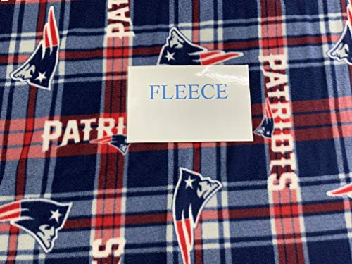 NFL New England Patriots Plaid Polyester Fleece Fabric, Navy Blue & Red - Sold By the Yard
