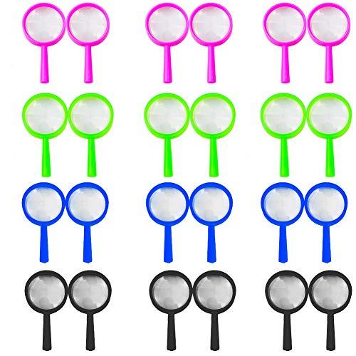 BESYZY 24pcs Lupas plásticas de Mano para niños pequeños de Mano niños Ciencia Experimento Lupa Coloridas