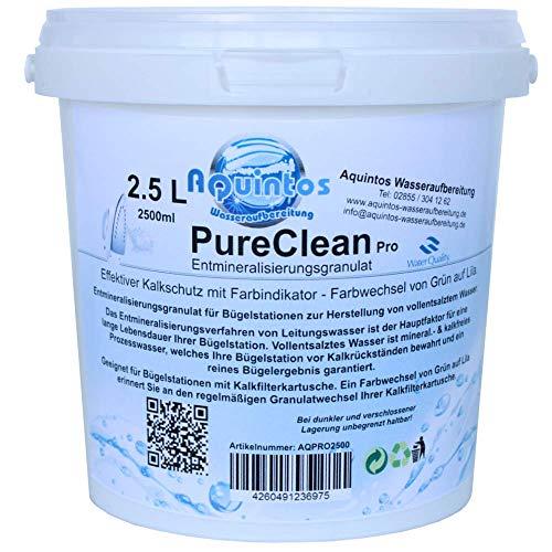 Filtergranulat PureCleanPro Entmineralisierungsgranulat für Dampfbügelstationen mit Farbindikator von Grün auf Lila - Alternative zu Laurastar (2.5 Liter)