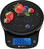 Etekcity Báscula de Cocina Digital Sensor de Alta Precisión(0,1g/0.01oz) para Comida, Joyería y Gasto de Envío (1g - 5 kg), Función Tara, Pantalla LCD, Múltiple Unidades(g/oz/lb:oz/ml/fl'oz) Negro