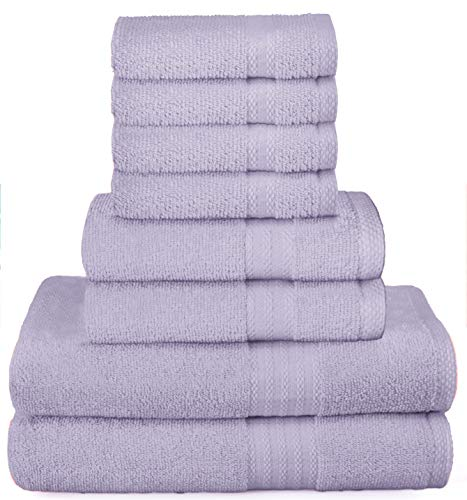 Glamburg Ultra Soft 8-Piece Towel Set - 100% Pure Ringspun Cotton, Contains 2 Oversized Bath Towels 27x54, 2 Hand Towels 16x28, 4 Wash Cloths 13x13 - Ideal for Everyday use, Hotel & Spa - Purple