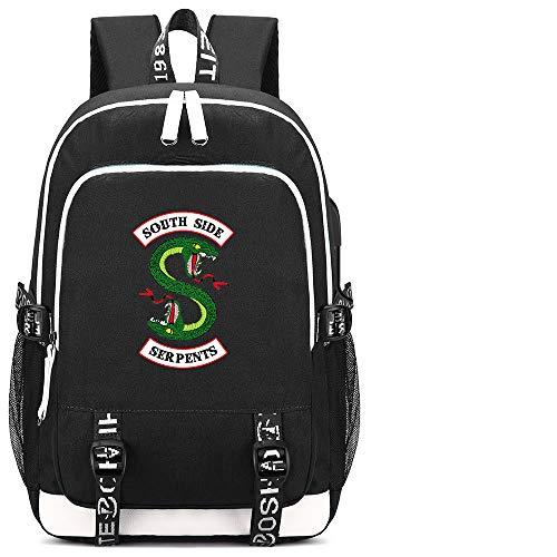 Riverdale - Mochilas para escuela, estudiantes, adolescentes, portátil, con puerto de carga USB
