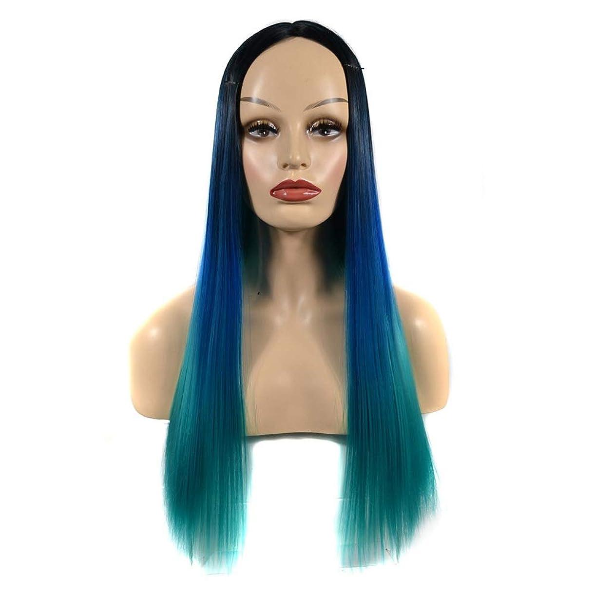 HOHYLLYA 女性のストレートフルウィッグロングピーコックグリーンヘアウィッグエレガントなレディパーティーデイリードレスパーティーウィッグ (色 : オレンジ, サイズ : 60cm)
