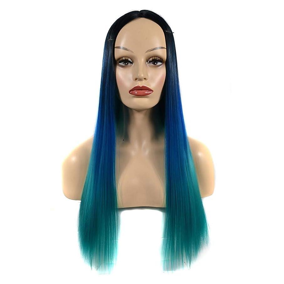スリチンモイ無関心レーダーHOHYLLYA 女性のストレートフルウィッグロングピーコックグリーンヘアウィッグエレガントなレディパーティーデイリードレスパーティーウィッグ (色 : オレンジ, サイズ : 60cm)