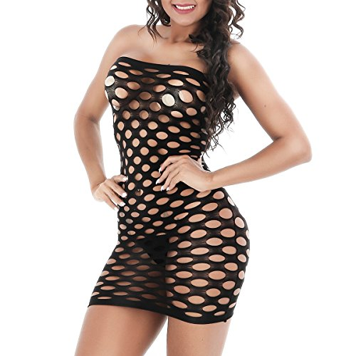 BeautyWill Sexy Women Babydoll lingerie Strapless Chemise Fishnet Hollow Out One Size Mini-dress