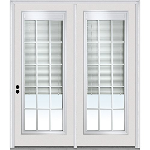 "National Door Company Z001620R Fiberglass, Primed, Right-Hand Inswing, Center Hinged Patio, Clear Low-E Glass Internal Blinds and Grilles, 67"" x 81.75"""