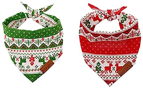 WSYGHP 2pcs Pet De Noël Bandana Chien Triangle Triangle Écharpe Costume de Noël Collier de décoration pour Chat Chien pour Animaux de Compagnie Collier pour Chien