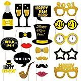SicurezzaPrima Silvester Deko 2021 Party Set XXL - 44-teilig - Neujahr Silvesterdeko - Girlanden, XXL Mega Ballons, Pompoms, Foto, Fotorequisiten, Dekoration - schwarz, Gold - 3