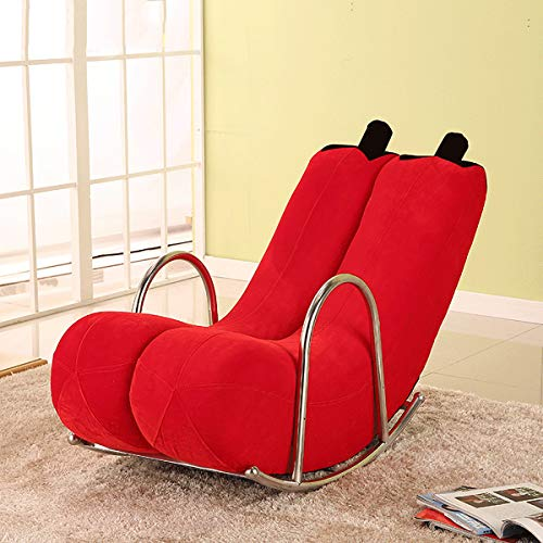 HE-XSHDTT Nordic Simple Single Couch Sofa Moon Chair Kleine Wohnung Moderne Tatami Creative Swivel Reclinable Waschbare Banane Recliner Rocking Personality Cute,Red Gold Velvet