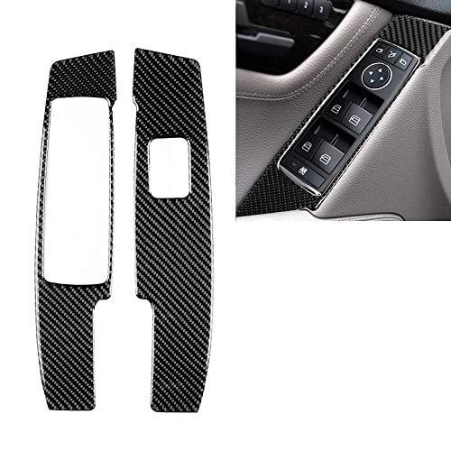 Zhoutao 2 STÜCKE Auto Carbon Fensterheber Panel Dekorative Aufkleber for Mercedes-Benz W204 C Klasse 2007-2013