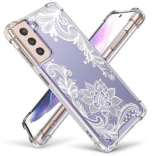 Cutebe Cute Clear Crystal Case for Samsung Galaxy S21 5G 6.2 inch,Shockproof Series Hard PC+ TPU Bumper Yellow-Resistant Protective Cover for Women,Girls(White Floral Design)