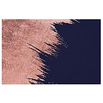 HCYHU Doormat with Heavy-Duty PVC Backing Navy Blue Abstract Faux Rose Gold bstrokes Durable Non Slip Entrance Rug for Entry Front Door Mat Indoor&Outdoor Welcome Mat 23.6X15.7inch