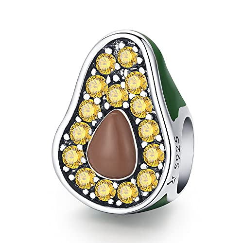 Ztowoto Refreshing Summer Aguacate 925 Pulsera de plata Collar de cuentas Colgante para Pandora Charm Pulsera Collar (Avocado)