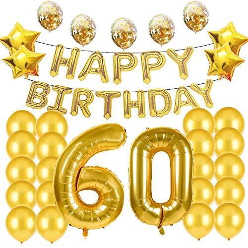 Suministros de decoración para fiestas de 60 cumpleaños, globos dorados, globos de...