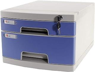 KANJJ-YU Plastique cosmétique bureau tiroir, Rangement Organisateur tiroir verrouillable Sorter A4 Boîte de bureau (3 couc...