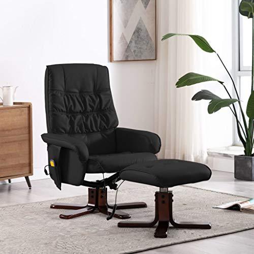 UnfadeMemory Massagesessel mit Fußhocker Fernsehsessel Relaxsessel Kunstleder und Haselholzgestell TV-Sessel Verstellbare Rückenlehne Wärmefunktion Entspannungssessel (Schwarz)