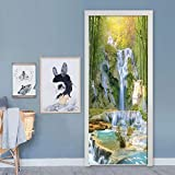 FCFLXJ 3D Porte Autocollant Parc aquatique Forest Waterfall 95X215CM Murales Sticker...