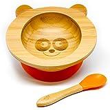 KLEINER FUCHS präsentiert - Hochwertige Baby Schüssel aus naturbelassenem Bambus mit rutschfestem Saugnapf und passendem Babylöffel, auch perfekt als Geschenk-Set (Panda)