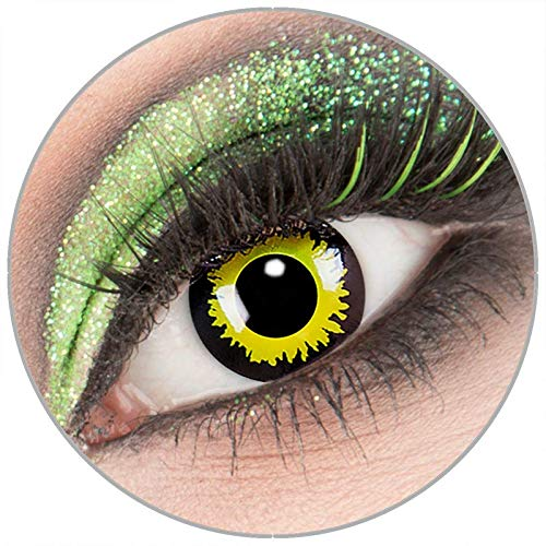 Farbige gelb schwarze gelbe 'Eclipse' Kontaktlinsen ohne Stärke 1 Paar Crazy Fun Kontaktlinsen mit Kombilösung (60ml) + Behälter zu Fasching Karneval Halloween - Topqualität von 'Giftauge'