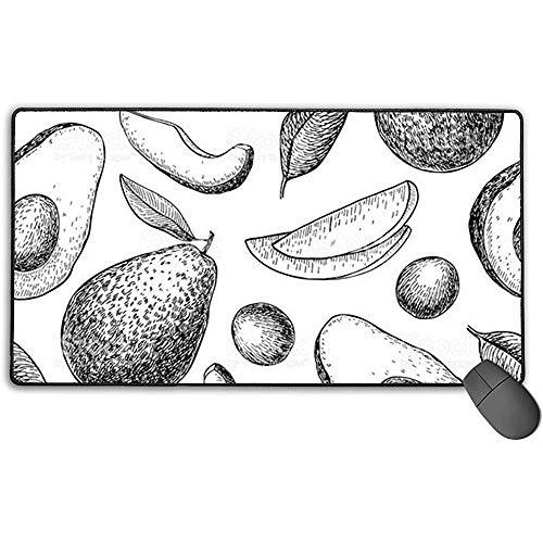 Avocado Plant tekening muismat met vergrendelingsrand, anti-slip rubberen voet muismat