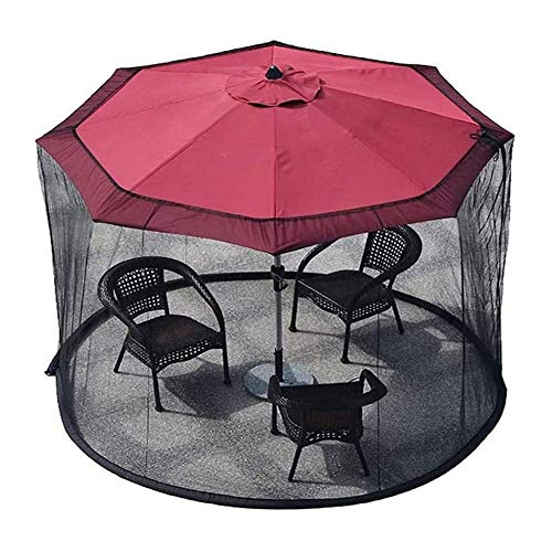 Nfudishpu Patio Umbrella Mosquito Netting-Polyester Mesh Screen and Water Tube at Base to Hold in Place, Helps Protect from Mosquitoes, Black (300 * 230CM)