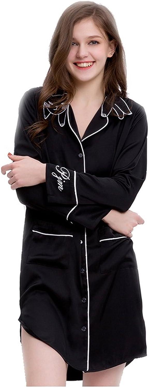 Cat Embroidery Collar Women's Pajama,Short Bathrobe Shirt Dress Long Sleeve Sleepwear Silk Nightshirts