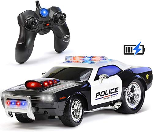 KidiRace Remote Control Police Car Toy with Lights and Sirens for Boys - Rechargeable Cop Car - Durable RC Police Car Toy for Kids 3 Years and Up