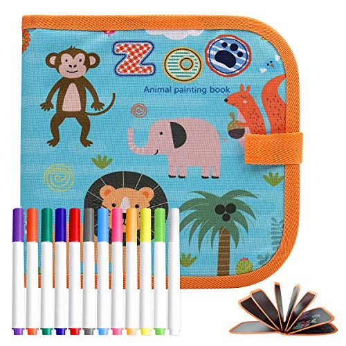 POOPHUNS Tabla de Dibujo Portátil para Niños, Tablero de Dibujo de Graffiti (Versión animal+12 bolígrafos de acuarela)