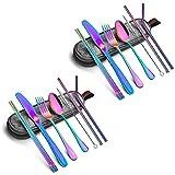 Cuberteria Portátil utensilios cubiertos Juego de cubiertos de 16 piezas Set de cubiertos como cuchillo Tenedor Cuchara palillos pajas portátil bolsa Conveniente y duradero ( Color : Colorful )