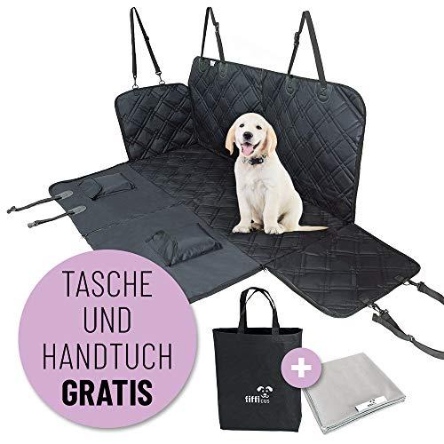 fifficus® Universal Hundedecke für die Auto Rückbank l Wasserfeste Decke für Hunde als Schutz für den Autositz I Autoschondecke Hund Rücksitz (Schwarz)
