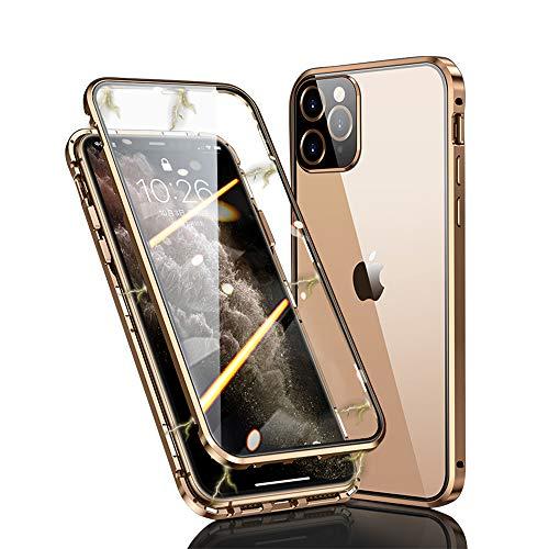 Ellmi Für iPhone 11 Pro Hülle 360 Grad Magnetisch, Dünn Metallrahmen Magnetische Adsorption Handyhülle Schutzfolie Vorne & Hinten Komplett Schutzhülle für iPhone 11 Pro (Golden)