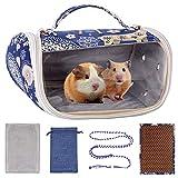 BundleMall, borsa per criceti, portatile, traspirante, piccola borsa da viaggio per roditori, per porcellini d'India, riccio, scoiattolo, cincillà, topi (blu)