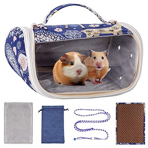 BundleMall Bolsa de transporte para hámster con animales pequeños, portátil, transpirable, saliente, caja de viaje para conejillos de indias, erizo, ardilla, ratones chinchilla, ratones (azul)