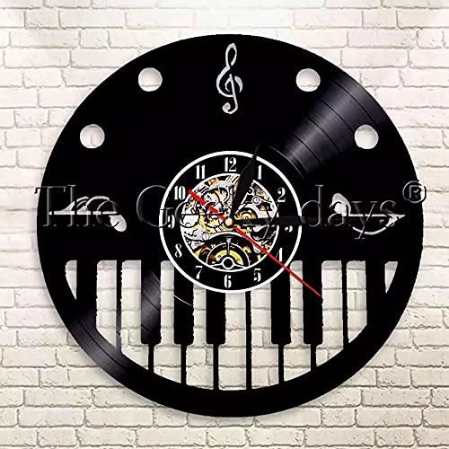 ZZLLL Teclado de Piano y Clave de Sol Reloj de Disco de Vinilo Instrumento Musical Nota Musical Colgante de Pared Reloj de Pared Art Deco-Sin LED