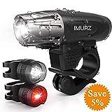 imurz Mountain Bike Lights Set USB Rechargeable Cycling Lights...