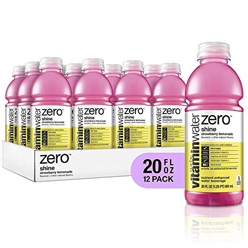 vitaminwater electrolyte enhanced water w/ vitamins, zero shine strawberry lemonade, 20 fl. oz (Pack of 12)
