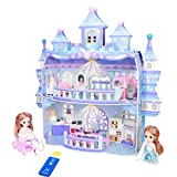 Dollhouse, 3D Princess Castle Two-Story Playset Doll House with Lights for Girls, DIY Building Pretend Dream House Playhouse Toys with Furniture and Accessories, Living Room Bedroom Kitchen Bathroom