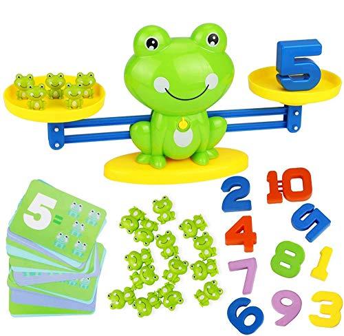 AMZYY Frog Balance Mathe-Spiel, Frosch-Waage Montessori Educational Stem Digitales Zählspielzeug Für Kinder Grundlegendes Mathe-Lernen