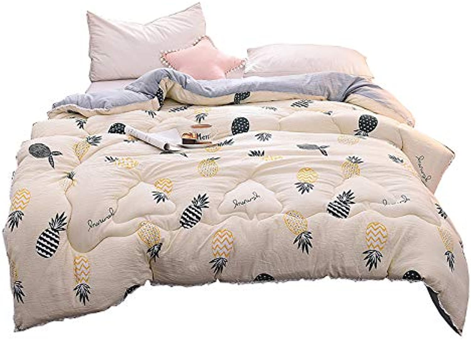 Single Double Quilt Quilted Comforter with Corner Tabs Double Quilt Four Seasons Thicken Warm and Soft for All Season (Size   150cmx200cm2kg)