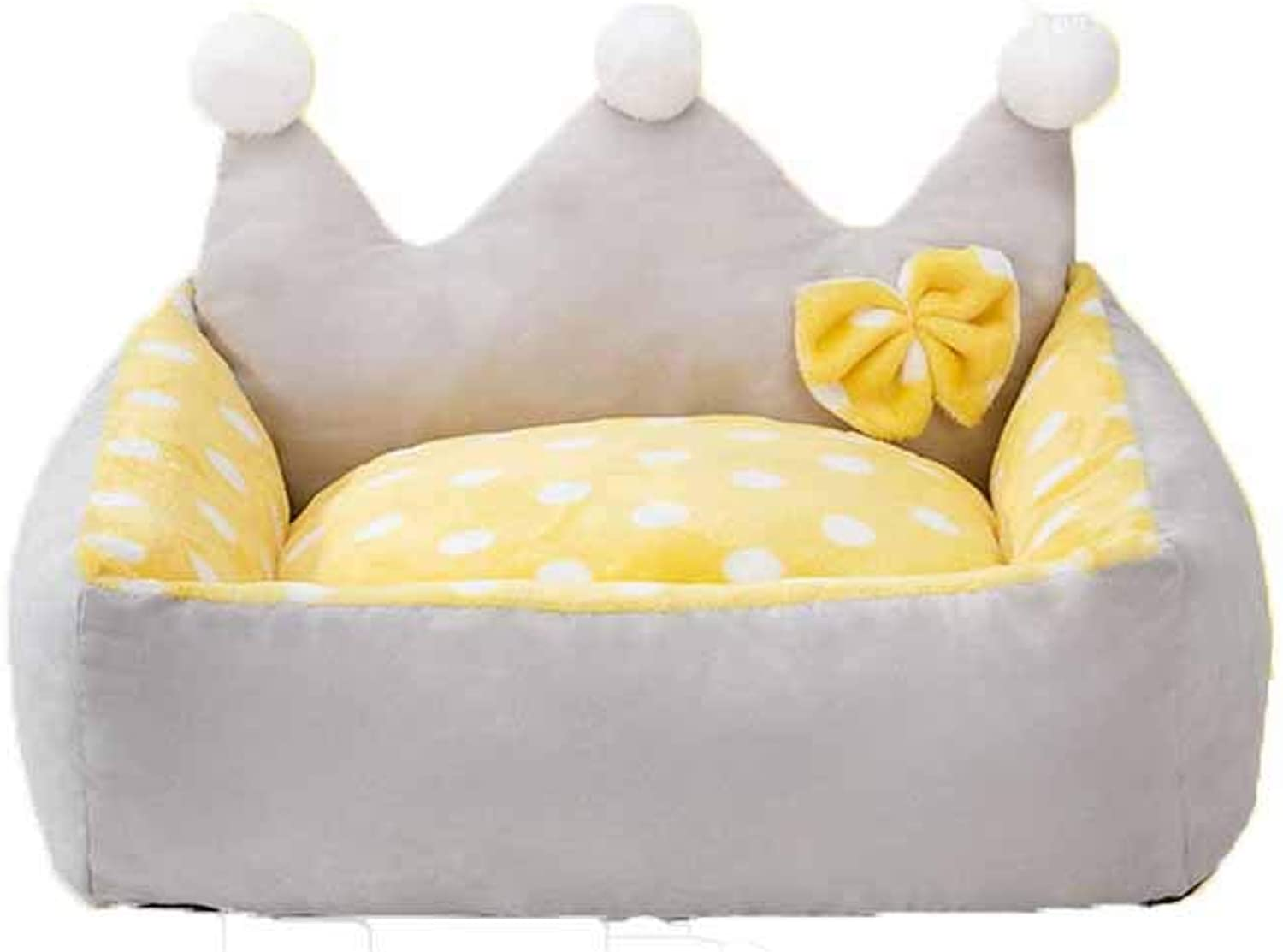 Kennel, Washable, Winter, Princess, Cat Litter, Seasons, Teddy, Small Medium Dog, Dog Bed, Pet Supplies, Keep Warm (color   Yellow, Size   M)