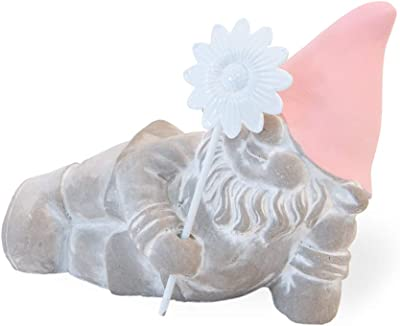 Boston International Winky Daisy Gnome Pastel Pink 6 x 5 Cement Collectible Figurine