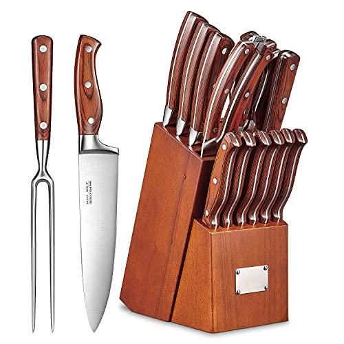 Set Coltelli da Cucina 16 Pezzi, Set di Coltelli Professionali Acciaio Inossidabile, Coltelli Cucina con Ceppo Coltelli Blocco in Legno, Cucina Set Coltello