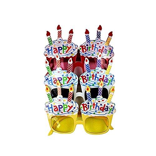 STOBOK STOBOK Alles Gute zum Geburtstag Glas Eyewear Geburtstag Kerze Sonnenbrille Party Neuheit Brille 3 Stücke