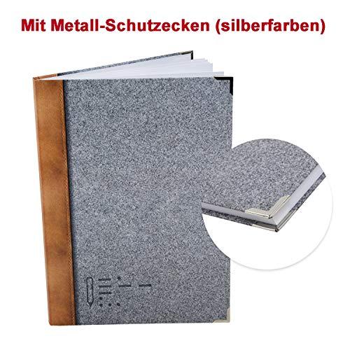 Logbuch-Verlag großes XXL Notizbuch grau braun in Filzoptik bedruckt DIN A4 - leeres DIY Tagebuch Blankobuch Skizzenbuch Ideenbuch