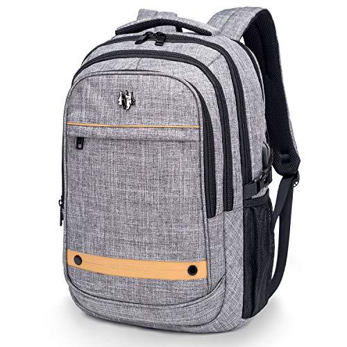 Wind Took 15,6 Zoll Laptop Rucksack Notebook Daypack mit USB-Ladeanschluss Herren Damen, für Business Schule Uni Alltag, Grau