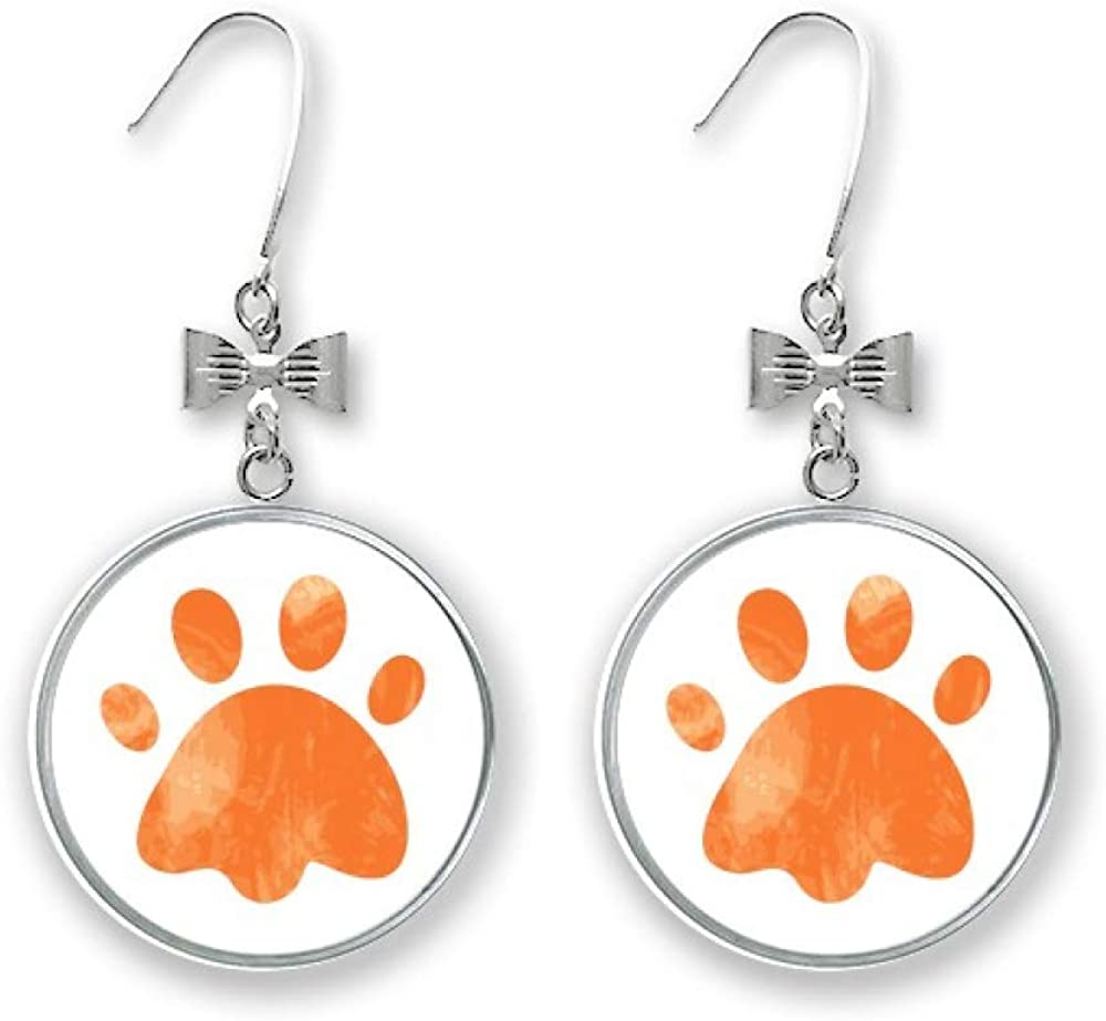 Orange Paw Boston Mall Print Cat Footprint Animal Stud Bow Earrings Year-end annual account Pie Drop